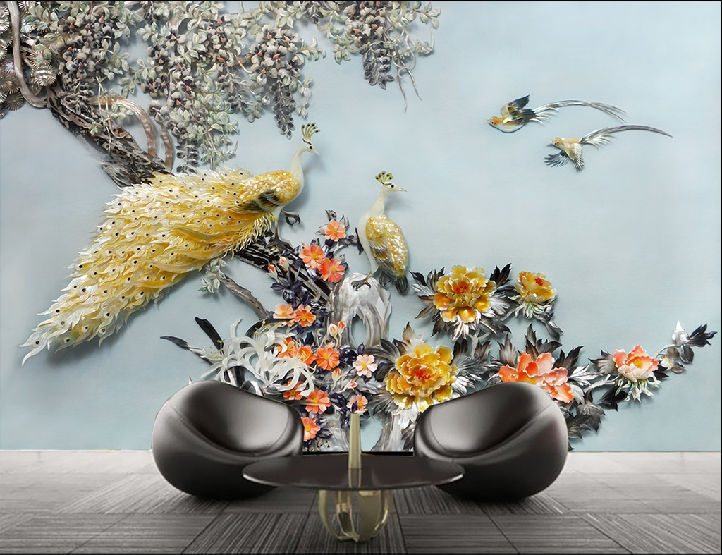 Tranh dán tường 3d chim công vợ chồng ngọc bích