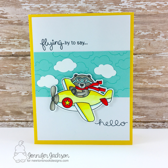 Flying By to Say Hello | Bear in Airplane Card by Jennifer Jackson  | Winston Takes Flight stamp set by Newton's Nook Designs #newtonsnook