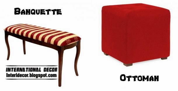 red ottoman and banquette striped