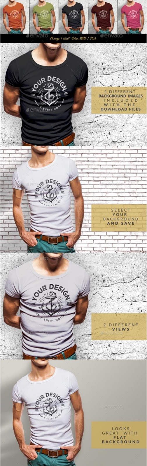 25. Muscular Men T-Shirt Mockup