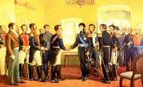 Dibujo de la entrevista de José de San Martín con el libertador Simón Bolivar