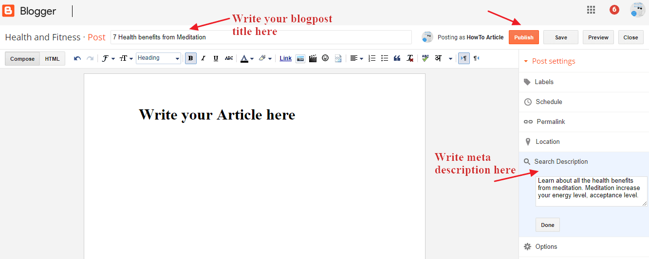create new post in blogger