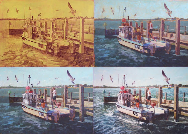 Martin Davey painting stages of marine fishing art