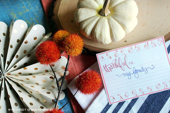 pumpkins, thanksgiving table, thankful for cards, thanks cards, freebie