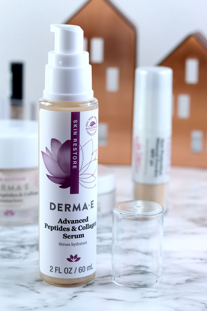 DERMA E Advanced Peptipes & Collagen Review.  If you are looking for natural skin care products, try Derma E.  This all natural skin care works wonderfully for my skin.  This organic skin care line is great for mature or aging skin.  If you need a self care routine with skin care products natural, check out this routine.  #naturalbeauty #organicskincare #dermaesocial #dermae #natural #crueltyfree