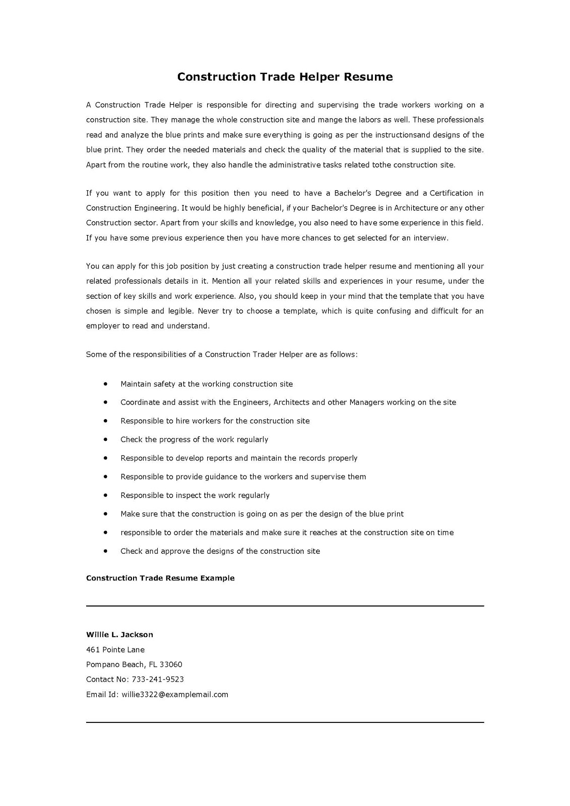 resume samples  construction trade helper resume