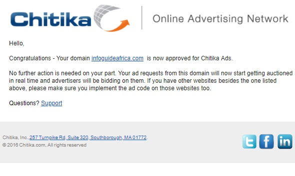 how can my site get approved for Chitike Adnetwork?