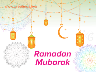 Ramadan Mubarak 2018 greetings live transparent HD background.