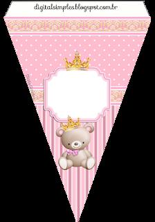 Banderines de Princesa Osita de Peluche  para imprimir gratis.