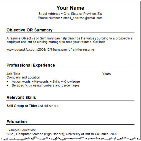 Blank Cv Template Examples In Microsoft Word Format Template Free