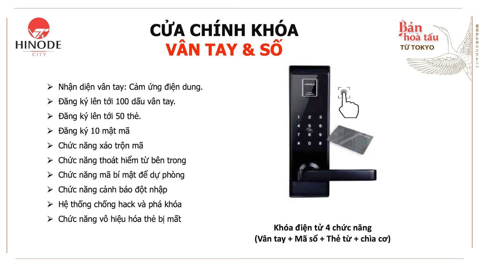 Hệ thống cửa khoá chính của chung cư Hinode City 201 Minh Khai