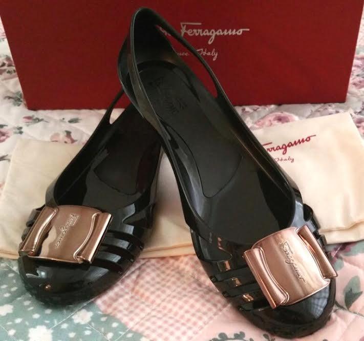 Ferragamo Black Jelly Shoes