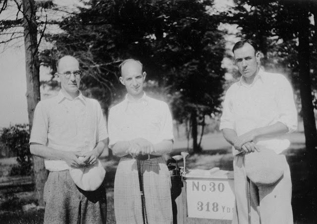Oregon authors Ernest Haycox (middle) and Robert Ormond Case (right) playing golf, c. 1928