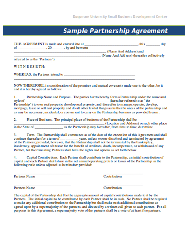 Partnership agreement template forms word format excel template partnership agreement template canada accmission Image collections