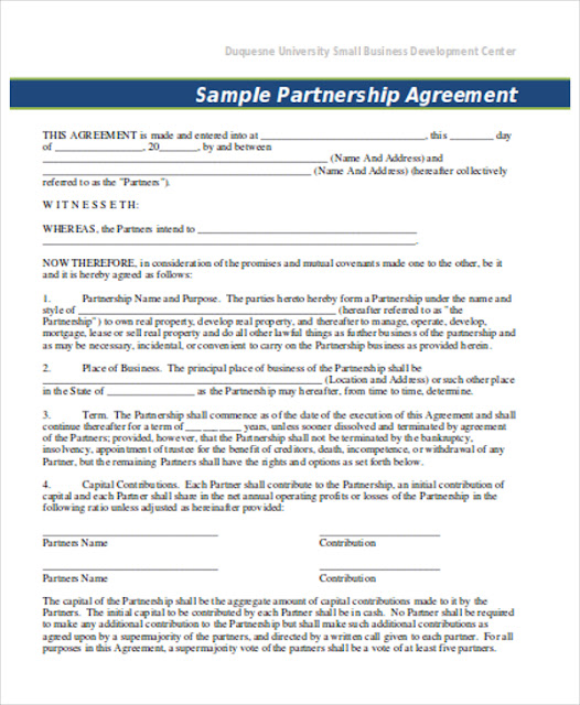 corporate partnership agreement template - partnership agreement template forms word format excel