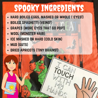 Halloween science fun that explores the senses! This simple Science activity will help your students describe objects using only some of their senses.
