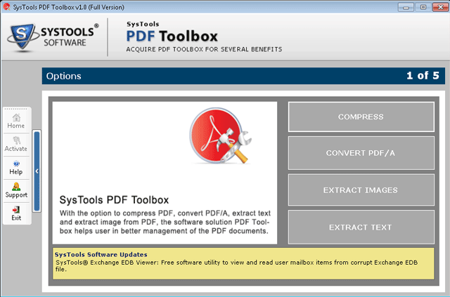 SysTools PDF Toolbox Options - Compress PDF, Convert PDF/A, Extract Images, Extract Text