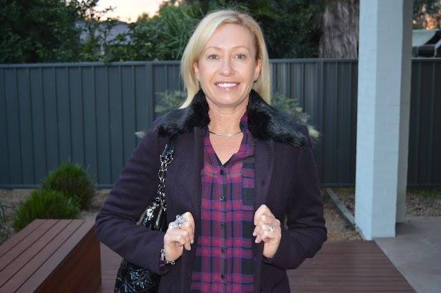 Sydney Fashion Hunter The Wednesday Pants #38 - Plaid Shirt & Berry Coat