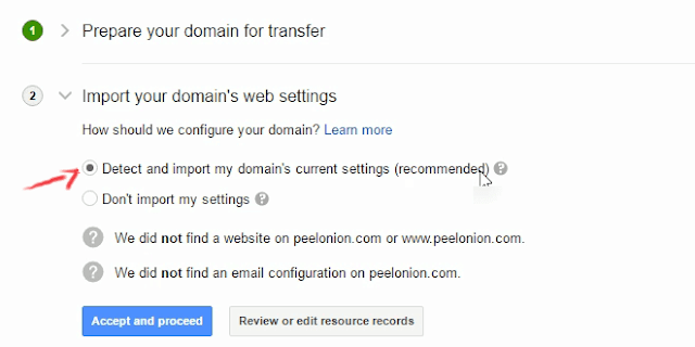 google domains detect and import settings
