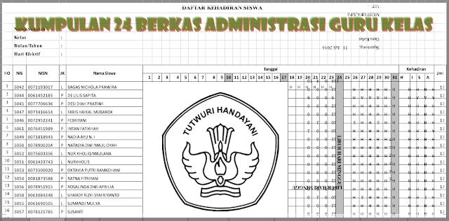 Kumpulan 24 Berkas Administrasi Guru Kelas Kurikulum 2013 Dalam 1 Format Excel