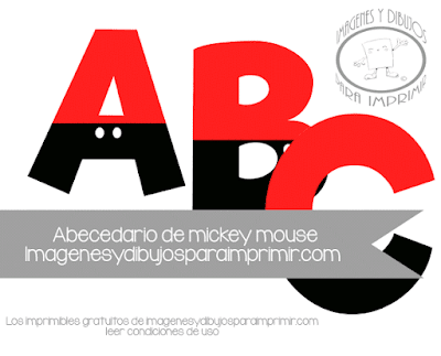 Letras para imprimir a color con Mickey mouse