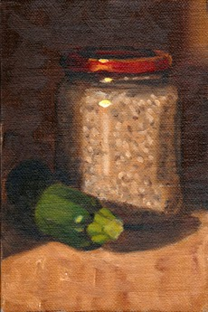 Oil painting of a zucchini lying beside a jar of barley with a red lid.