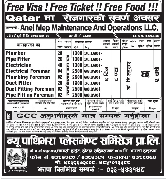FREE VISA FREE TICKET JOBS IN QATAR FOR NEPALI, SALARY RS 74,750