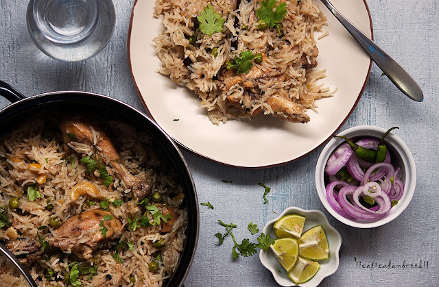 simple and easy peas pulao with chicken recipe and preparation with step by step pictures