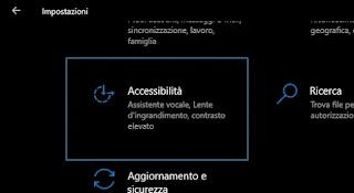 impostazioni accessibilità Windows 10