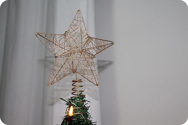 Decoração da Árvore de Natal : Ponta de Estrela Dourada