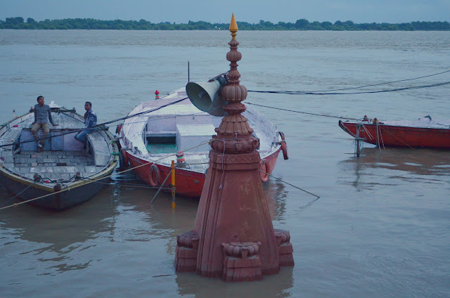 A temple completely submerged in River Ganga, Dashashwamedh Ghat,Varanasi