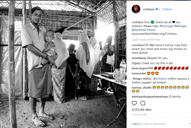 Cristiano Ronaldo Unggah Foto Pengungsi Rohingya Bangkitkan Kesadaran Rohingya Butuh Bantuan