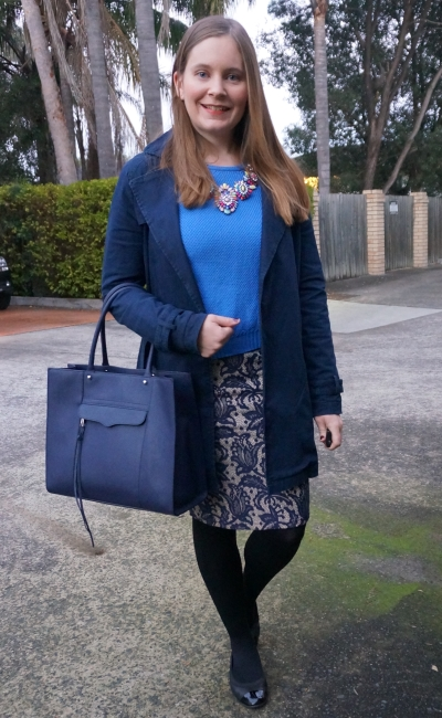 monochrome blue winter office outfit cobalt knit lace pencil skirt Rebecca MInkoff MAB Tote | Away From Blue