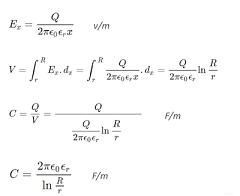 Single Core Cable Capacitance calculation Formula