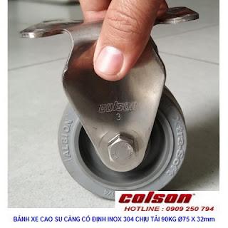 Bánh xe cao su càng inox cố định 75x32mm Colson | 2-3308SS-444 www.banhxedayhang.net