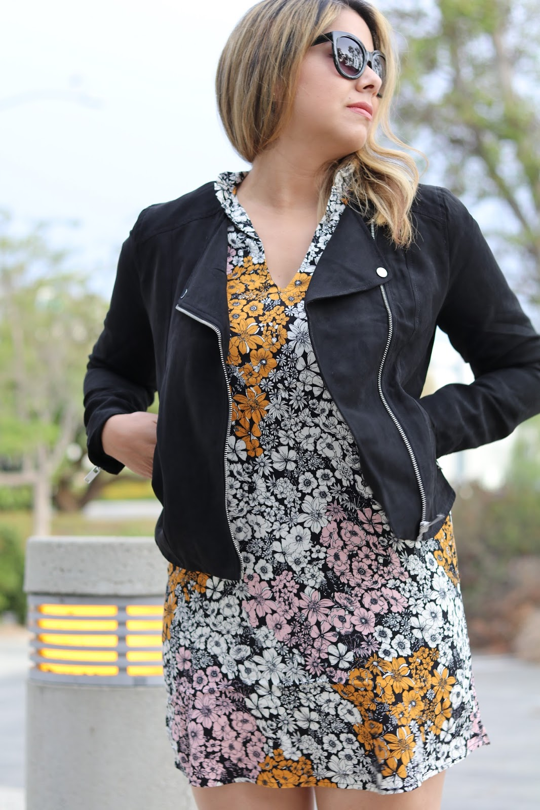 H&M floral dress, fall floral dress, fall printed dress, H&M moto jacket, H&M biker jacket