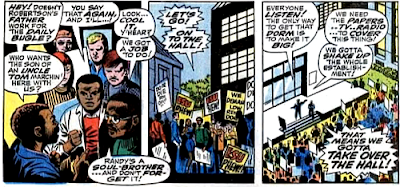 Amazing Spider-Man #68, jim mooney, john romita, at ESU, the students gather to protest