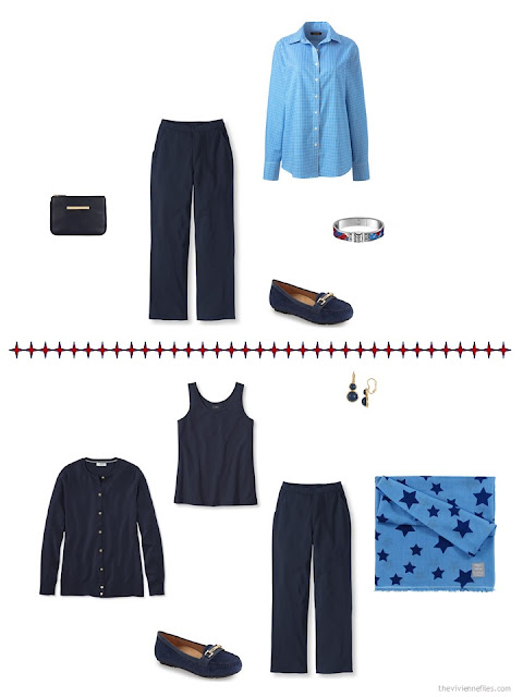 2 ways to style navy pants in a business capsule wardrobe