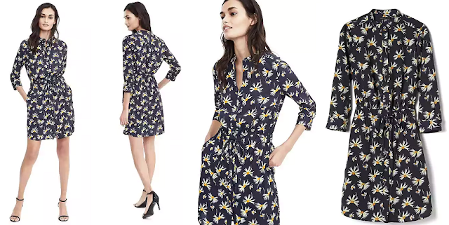 Banana Republic Long-Sleeve Floral Print Shirt Dress $45 (reg $128)