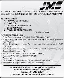Lowongan Kerja PT. JMS Batam