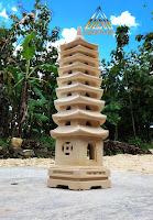 Lampion pagoda batu alam paras jogja atau batu putih