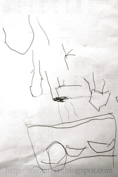 4v. lapsi piirtää laivan satamassa - 4-year-old child draws a ship in the harbour
