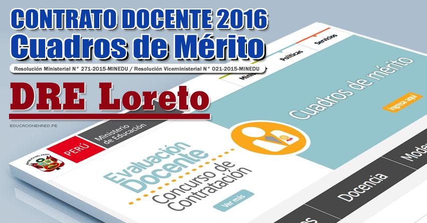 DRE Loreto: Cuadros de Mérito para Contrato Docente 2016 (Resultados 22 Enero) - www.drel.gob.pe