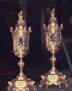 The ampoules that allegedly contain drops of the blood of Christ, mixed with soil