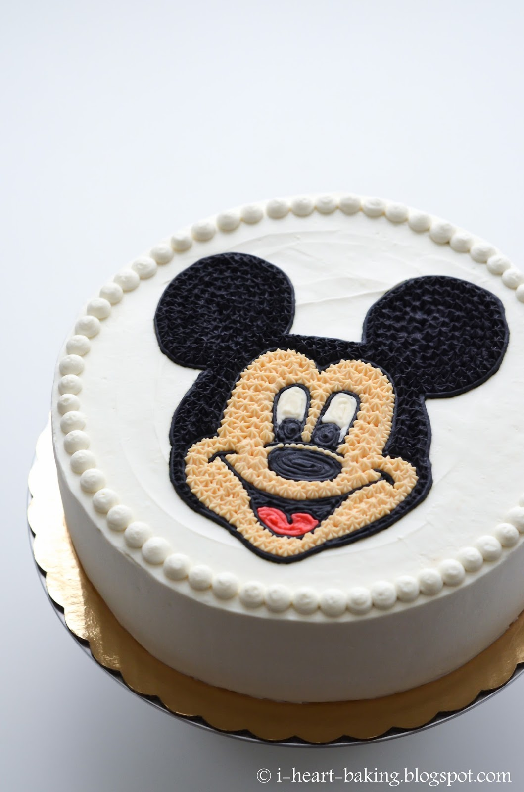 I Heart Baking Mickey Mouse Face Birthday Cake