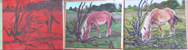 M P davey horse oil painting WIP