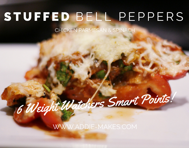 Chicken Parmesan Stuffed Bell Peppers recipe - Low carb / low calorie / gluten free - Weight Watchers Smart Points Friendly - from www.addie-makes.com