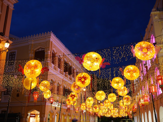 Mid-Autumn Festival lantern display at Largo do Senado in Macau