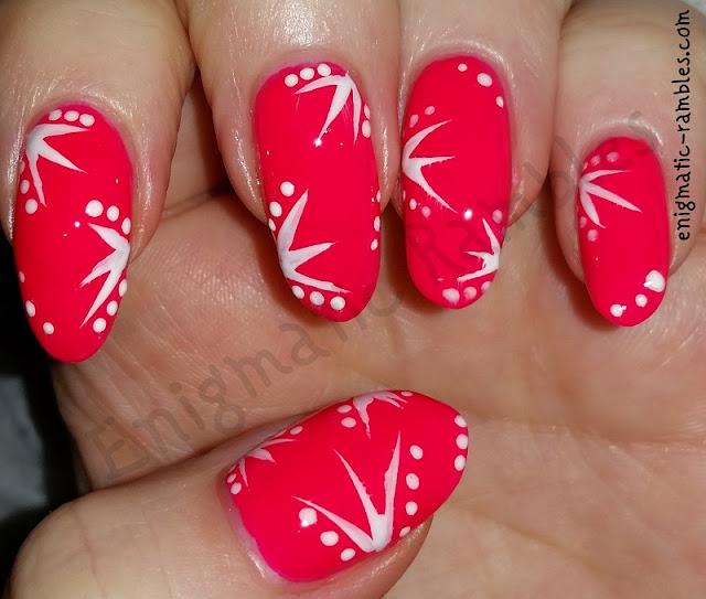 hot-pink-fluid-line-nails-nail-art