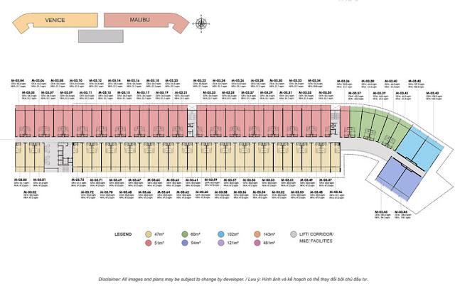 Mặt bằng tầng 3 dự án căn hộ Malibu Hội An